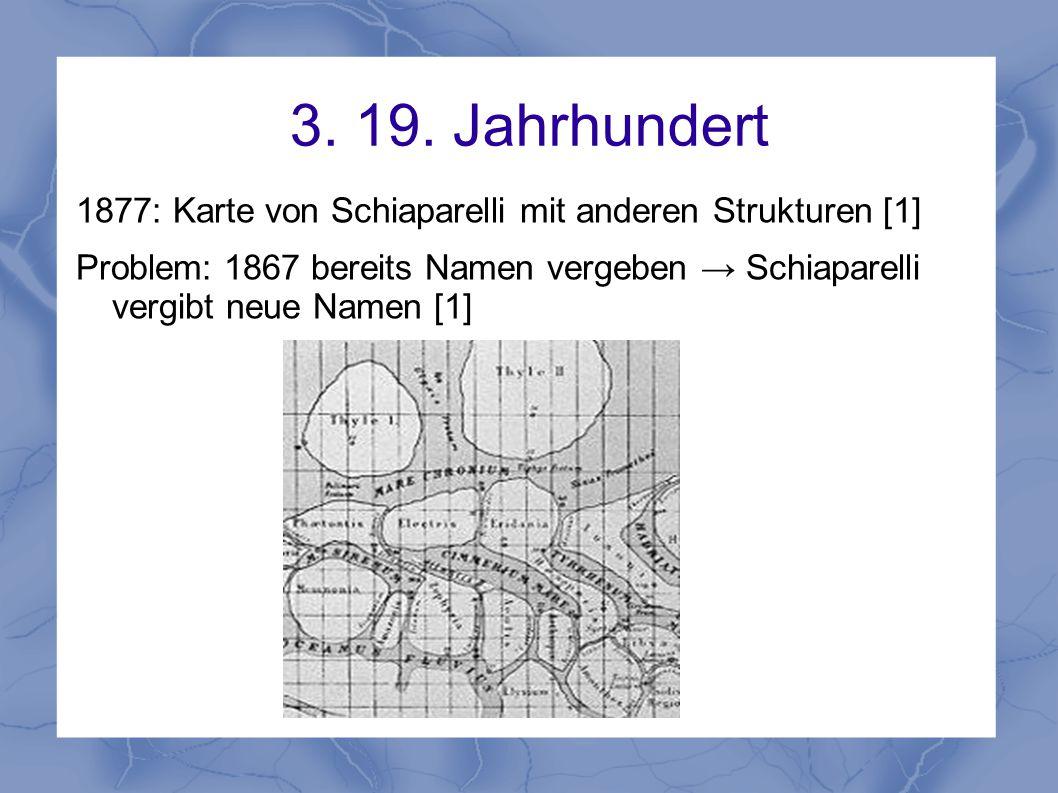 3. 19. Jahrhundert 1877: Karte von Schiaparelli mit anderen Strukturen [1]